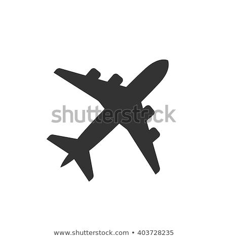 silhueta · avião · voador · cidade · crepúsculo · tecnologia - foto stock © lom