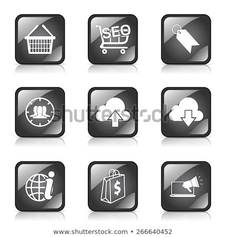 descargar · botón · establecer · negro · gris - foto stock © rizwanali3d