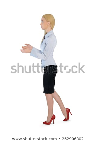 деловой женщины что-то изолированный бизнеса женщину Сток-фото © fuzzbones0