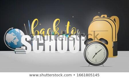 Az idő pénz óra kék rajzolt szalag felirat Stock fotó © marinini