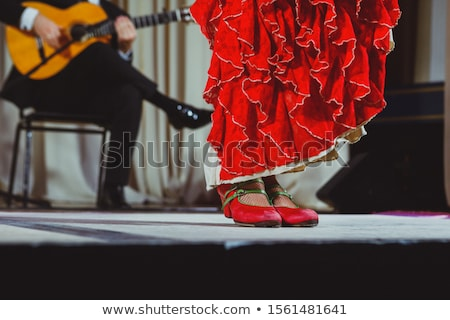 Young flamenco dancer in beautiful dress on black background. Stock photo © nenetus