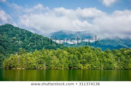 Lago enfumaçado montanhas água nuvens Foto stock © alex_grichenko