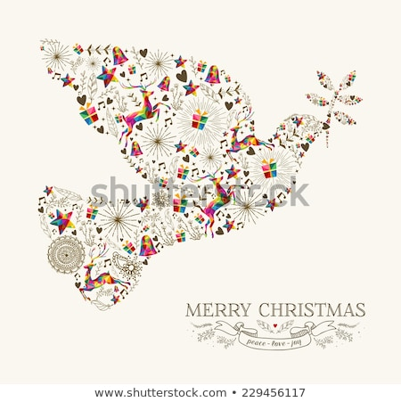 merry christmas peace dove vintage holiday element stock photo © cienpies