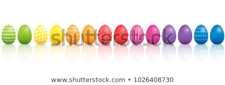 painted easter eggs lined up stock photo © frannyanne