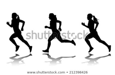Runner женщину силуэта закат спорт выстрел Сток-фото © gabor_galovtsik