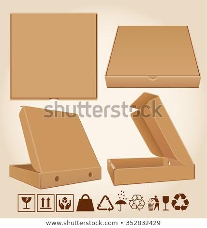 Сток-фото: четыре · коробки · пиццы · различный · позиции · картона · упаковка