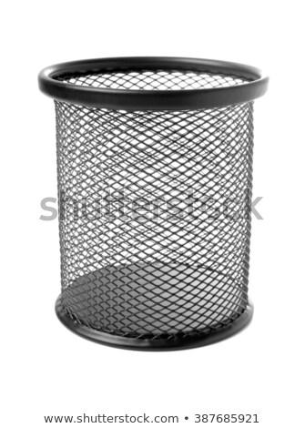 Black meshy stand for pencils isolated on white background. Stock photo © Leonardi