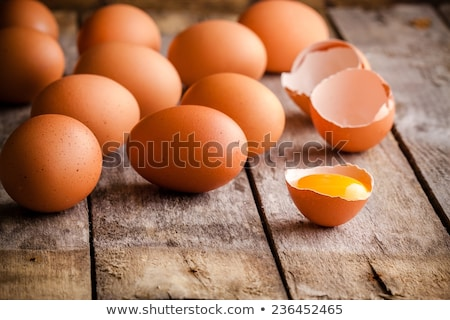 Wicker basket of farm fresh white hens eggs Stock photo © ozgur