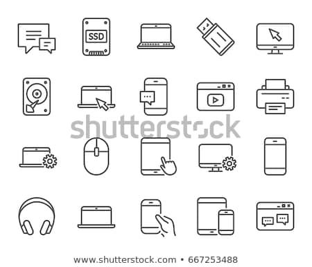 szilárd · vezetés · vonal · ikon · háló · mobil - stock fotó © rastudio