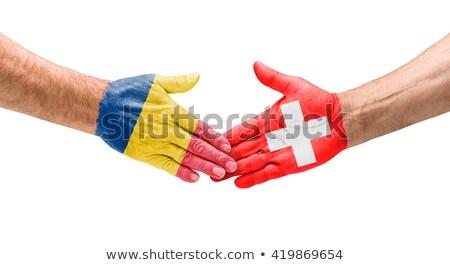 Calcio squadre stretta di mano Romania Svizzera mano Foto d'archivio © Zerbor