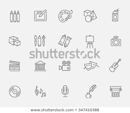 sztaluga · pędzlem · line · ikona · internetowych · komórkowych - zdjęcia stock © rastudio