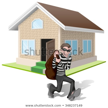 Thief robbed house. Man robber running with bag. Property insurance Stock photo © orensila