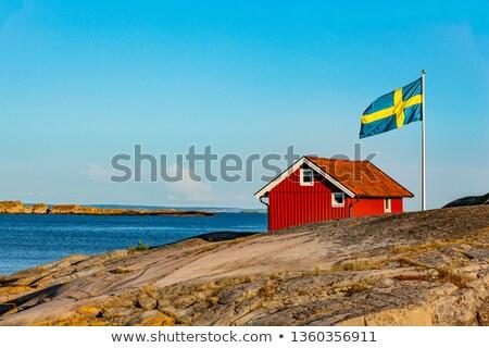 Kulübe İsveç İskandinavya Bina deniz tekne Stok fotoğraf © mikdam