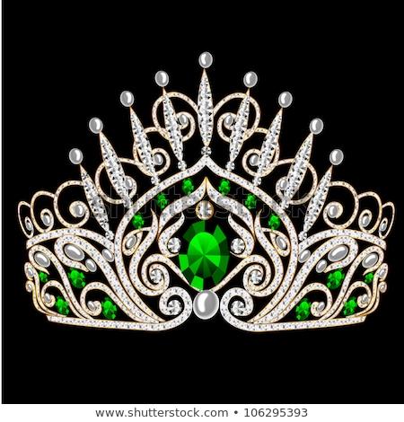 Diamond tiara with emeralds vector illustration Stock photo © Karamio
