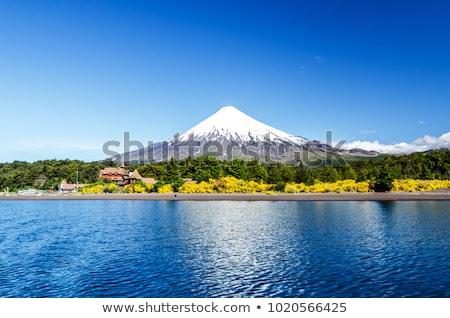 Wulkan szczyt niebo ilustracja górskich sztuki Zdjęcia stock © bluering