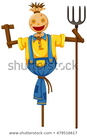 Scarecrow in farmer outfit holding fork Stock photo © bluering
