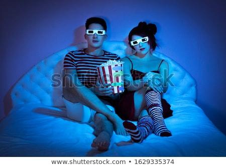 Adam yeme çorap poster dizayn ağız Stok fotoğraf © bluering