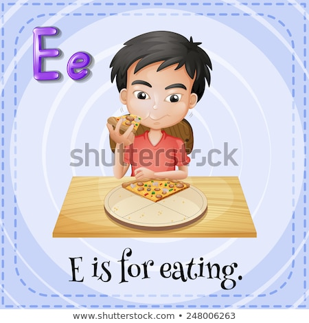 Stock photo: Flashcard letter E is for eat