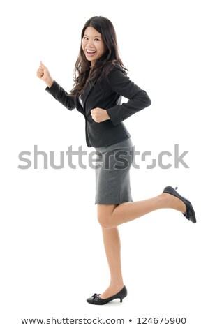 Fiatal ázsiai emberek fut egészalakos portré Stock fotó © szefei