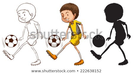 sketches of a soccer player in different colors stock photo © bluering