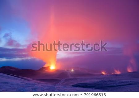 Vulkaan IJsland voorjaar hemel landschap sneeuw Stockfoto © mady70