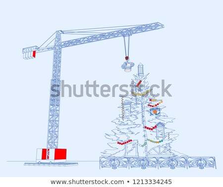 Congratulations to the New Year on the background of a construction crane Stock photo © m_pavlov