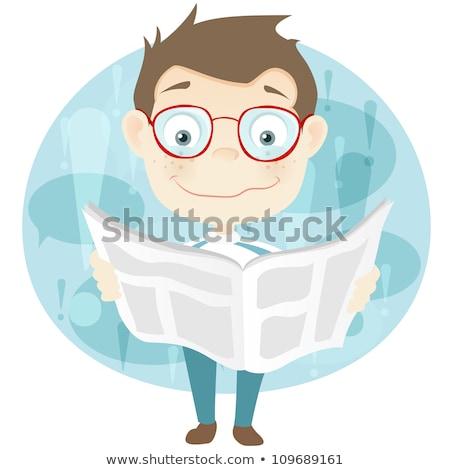 Homme lecture journal titre école éducation Photo stock © Zerbor