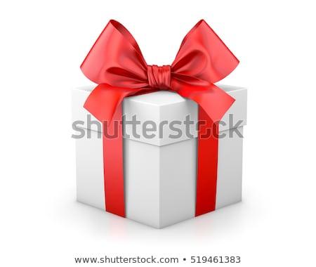 3d illusztráció fehér ajándék doboz vörös szalag íj papír Stock fotó © tussik