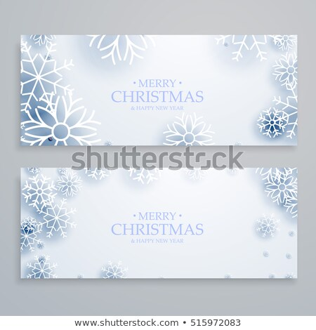 Stock photo: clean white merry christmas banners set with snowflakes