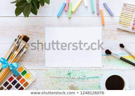 Boyama ayarlamak boya kalemleri suluboya beyaz kâğıt Stok fotoğraf © vlad_star