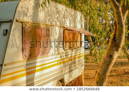 Caravan lifestyle road and landscape in vintage old style. Stock photo © carloscastilla