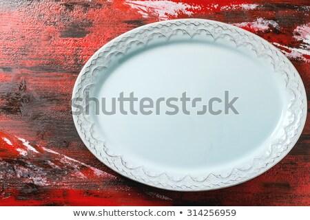 üres fekete kerámia edény piros fa asztal Stock fotó © CaptureLight