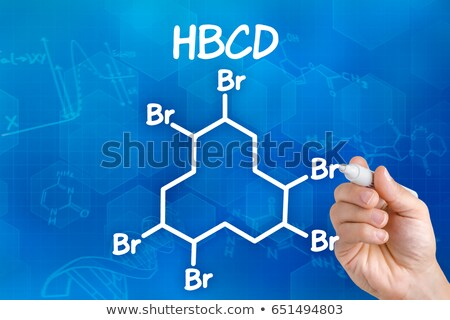 Zdjęcia stock: Hand With Pen Drawing The Chemical Formula Of Hbcd