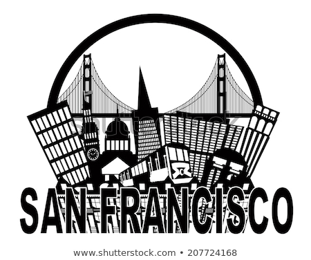 Сток-фото: San Francisco Skyline And Text Black And White Illustration