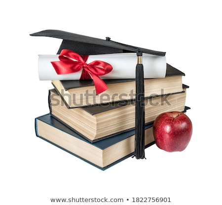 Graduate hat, red; apple and paper scroll Stock photo © Epitavi