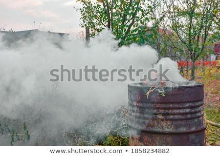 old rusty barrels with toxic smoke stock photo © elisanth