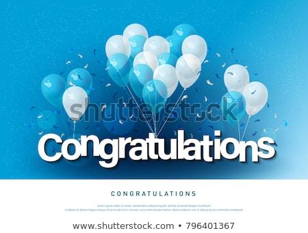 Felicitación tarjeta plantilla colorido globos ilustración Foto stock © bluering
