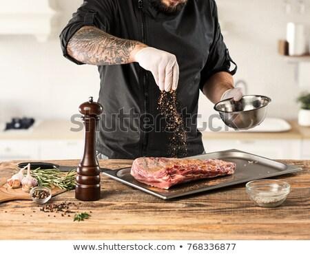 мяса · Spice · металл · пластина · таблице · фон - Сток-фото © tycoon