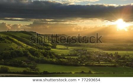Stock fotó: Naplemente · égbolt · Sussex · portré · kép · felhők