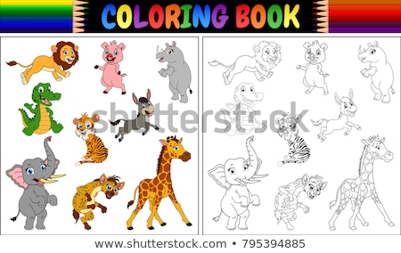 Coloring book donkey and farm Stock photo © clairev