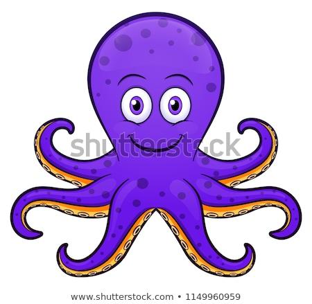Stockfoto: Paars · octopus · blij · gezicht · illustratie · kunst · tropische