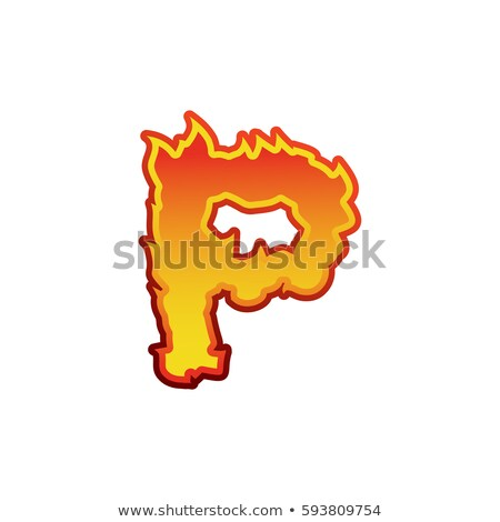 letter p fire flames font lettering tattoo alphabet character stock photo © popaukropa
