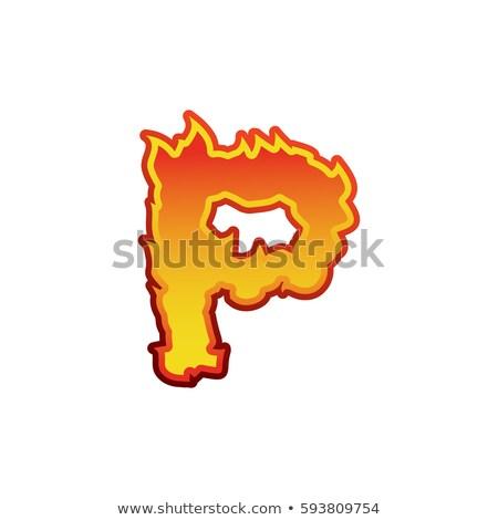 Fuoco fiamme carattere tattoo alfabeto Foto d'archivio © popaukropa