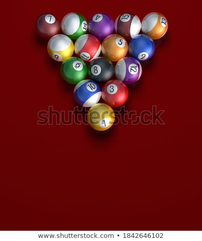 Stock photo: Pool billiard balls in starting position. 3D rendering