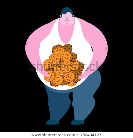 Fat guy and cookie. Glutton Thick man and biscuit. fatso vector  Stock photo © popaukropa