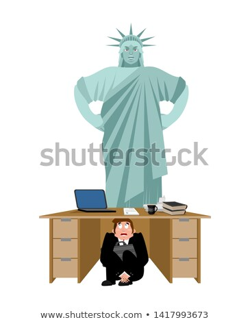 businessman scared under table of statue of liberty frightened stock photo © popaukropa