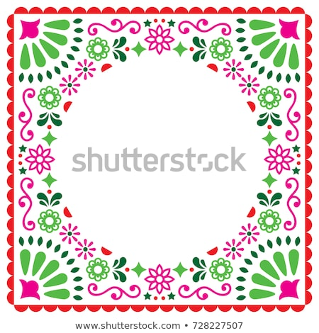 Folk vector greeting card, Mexican style wedding or party invitation, floral pink and green design  Stock photo © RedKoala