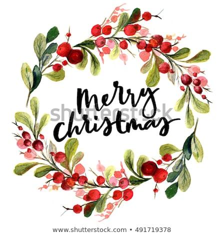 Christmas wreath composition on white Stock photo © dariazu