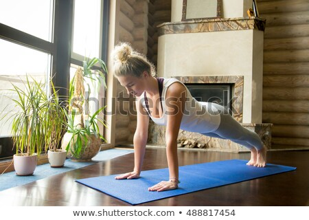 Portrait of a fitness woman standing in a plank position Stock photo © deandrobot