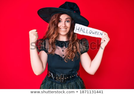 Screaming emotional young women in halloween costumes Stock photo © deandrobot